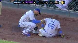 LAD@COL: Puig stays in the game after fantastic catch