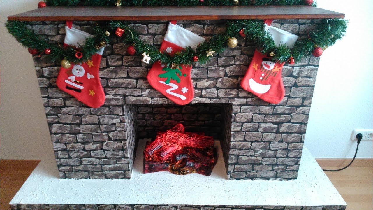 DIY Fake Kamin - Fake Fireplace for Christmas - YouTube