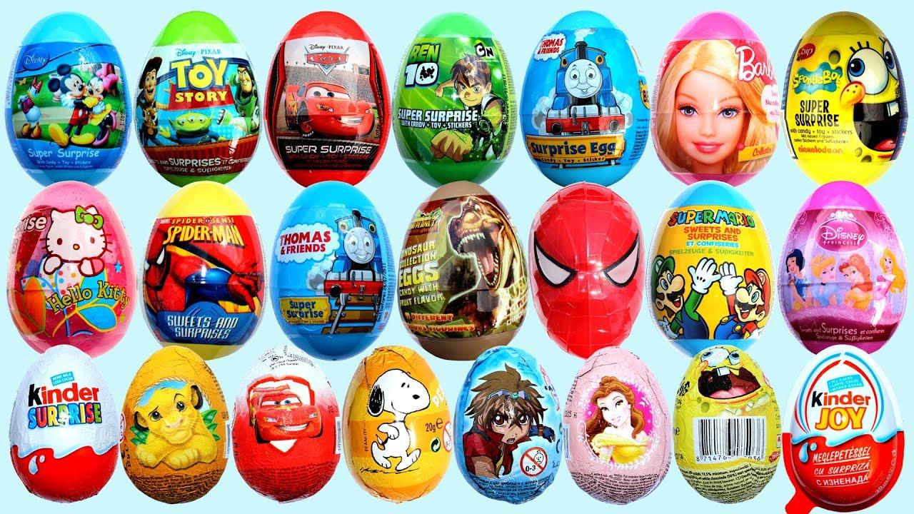 25 Surprise Eggs Kinder Surprise Cars 2 Mickey Mouse Spongebob ...