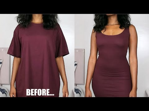 oversized-t-shirt-to-fitted-tank-dress-|-diy-clothing-transformations