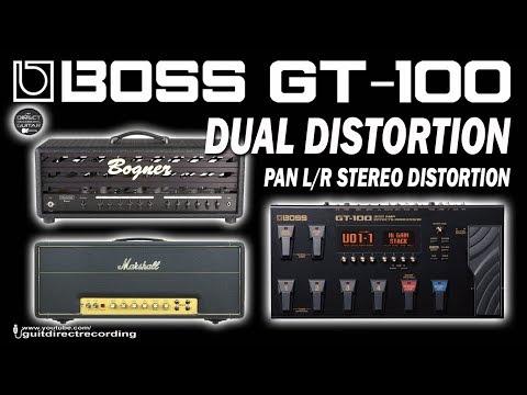 BOSS GT-100 Stereo Distortion Marshall 1959 + Bogner Uberschall Simulators.
