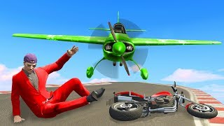 IMPOSSIBLE DODGE THE PLANE CHALLENGE! - GTA 5 Funny Moments