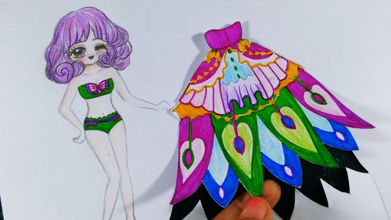 Vẽ Thiết kế Váy Đ.U.Ô.I  C.Ô.N.G - Cô gái thời trang Tóc Xoăn bồng bền ngang vai / Draw a girl