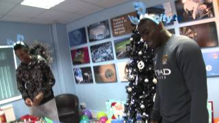 FUNNY Man City Xmas 2010: players make Christmas cards at Carrington