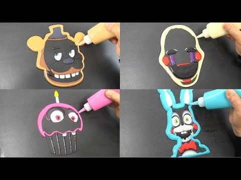 Five Nights at Freddy's Pancake Art - Freddy, Marionette, Toy Bonnie, Chica's Cupcake thumbnail
