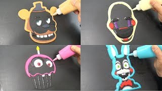 Five Nights at Freddy's Pancake Art - Freddy, Marionette, Toy Bonnie, Chica's Cupcake