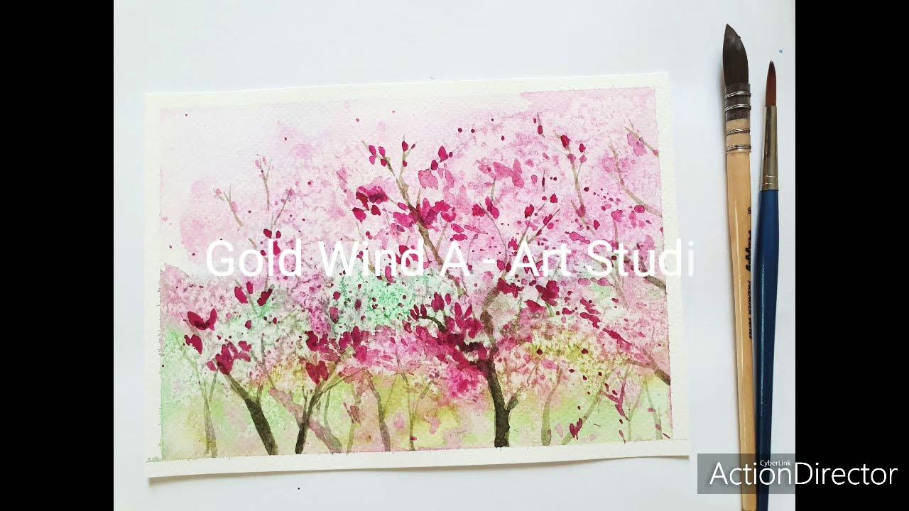 Watercolor painting | Cách vẽ rừng hoa nở thật dễ