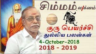 சிம்மம் லக்ன குரு பெயர்ச்சி பலன்கள் (2018-2019) | Simmam Lagna Guru Peyarchi Palangal 2018