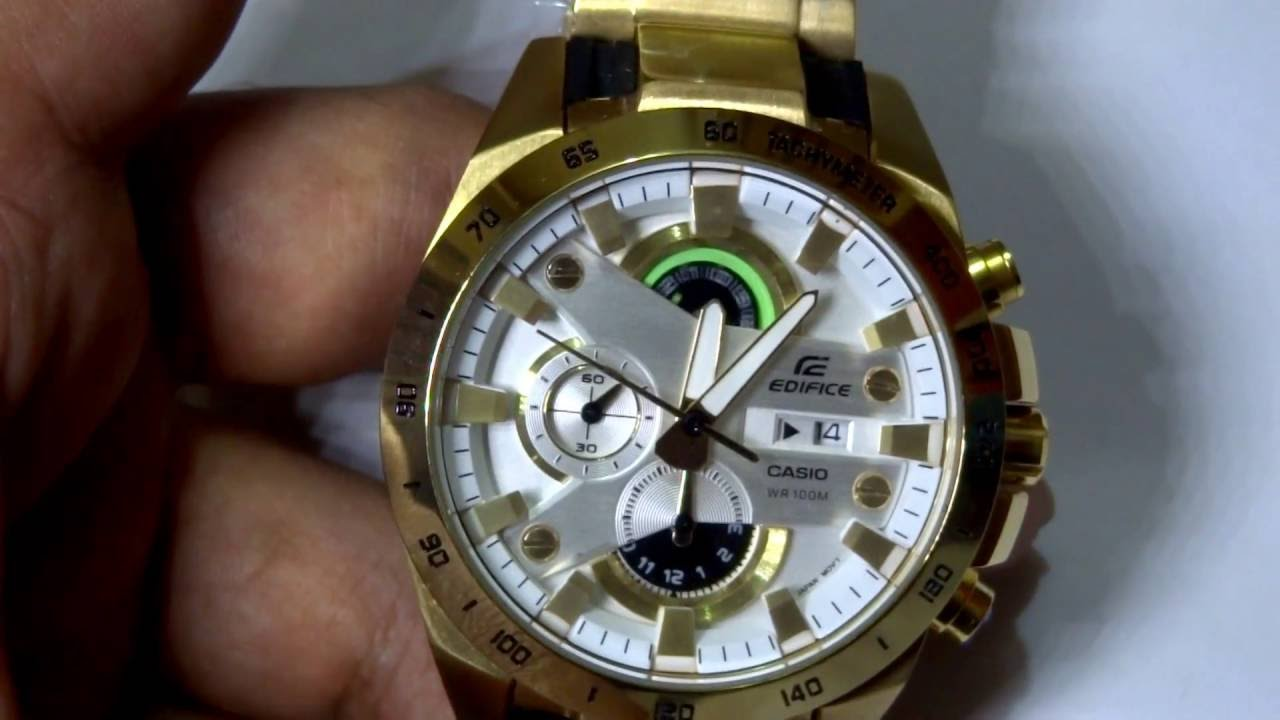 ae4d7a99ef0 Casio Edifice GOLD  Groom s 1 10th sec chrono Watch - YouTube