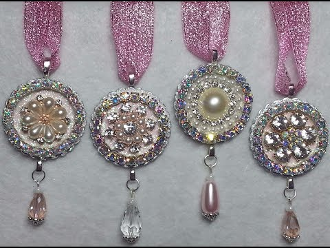 DIY~Create Gorgeous & Easy Shabby Chic Rhinestone Christmas Ornaments!