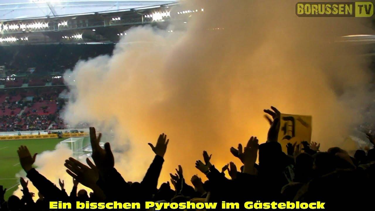 Pyro im Gästeblock: VfB Stuttgart - BVB 31.01.2010