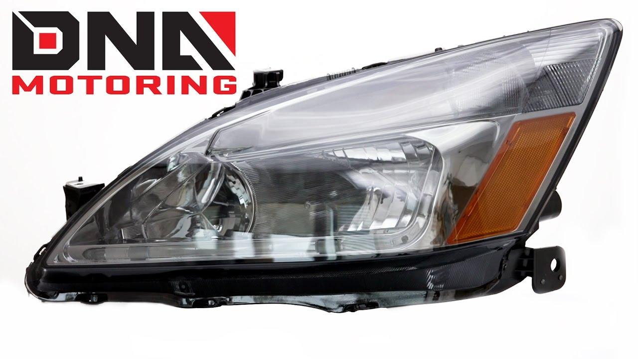 Dna Motoring 03 05 Honda Accord Led Smoke Housing Amber Corner Headlights