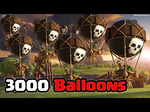 Clash Of Clans 3000 Balloons Raid (Massive Gameplay)
