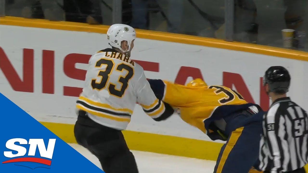 NHL Fights Of The Week: Chara Gets Dropped & Nazem Kadri Snaps On Ryan Lindgren