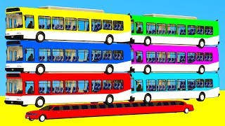 LEARN COLORS with BUS & Cars - Spiderman Cartoon 3D w Superheroes for babies and kids!