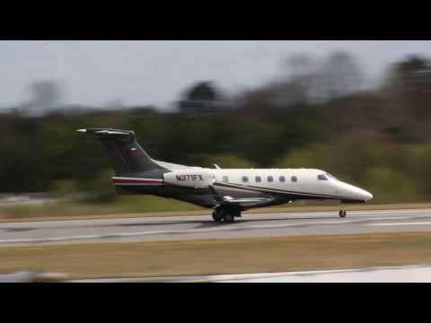 Flight Options Embraer Phenom 300 Landing at the Hickory Regional Airport  (3-25-17)