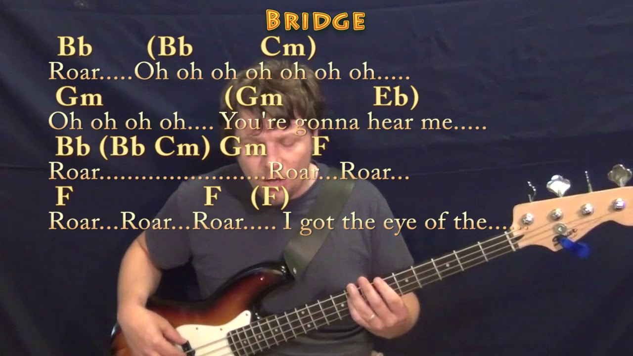 Roar Katy Perry Bass Guitar Cover Lesson In Bb With Chordslyrics