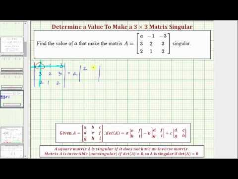 Ex: Determine a Value in a 3x3 Matrix To Make the Matrix Singular