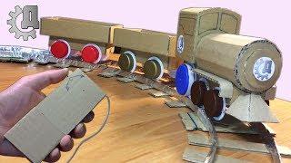 Как сделать поезд с моторчиком на пульте из картона и крышек?