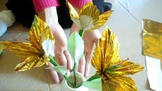 Cara Membuat Bunga Dari Kertas Emas