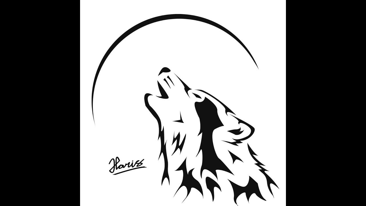 картинка для выжигания волк воет на луну первого раза, стандартно
