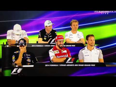 F1 Drivers Press conference Abu Dhabi 2014. Awkward long question