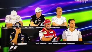 F1 Drivers Press conference Abu Dhabi 2014. Awkward long question
