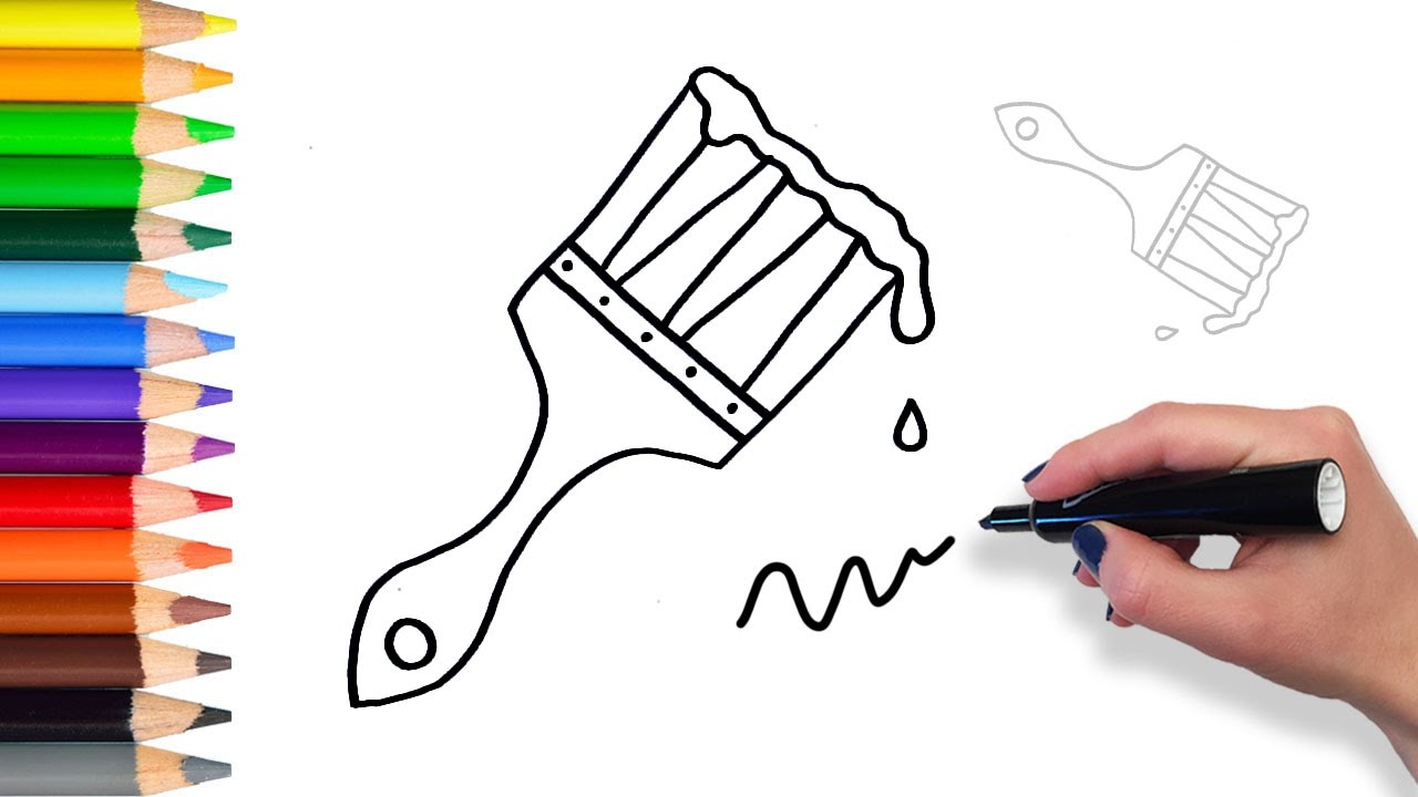 How to Draw a Wet Paint Brush | Coloring Pages for Kids - YouTube