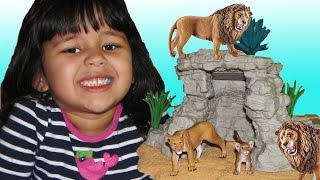 Lions Schleich Cave Playset Animals Toys for Kids Playing ZOO