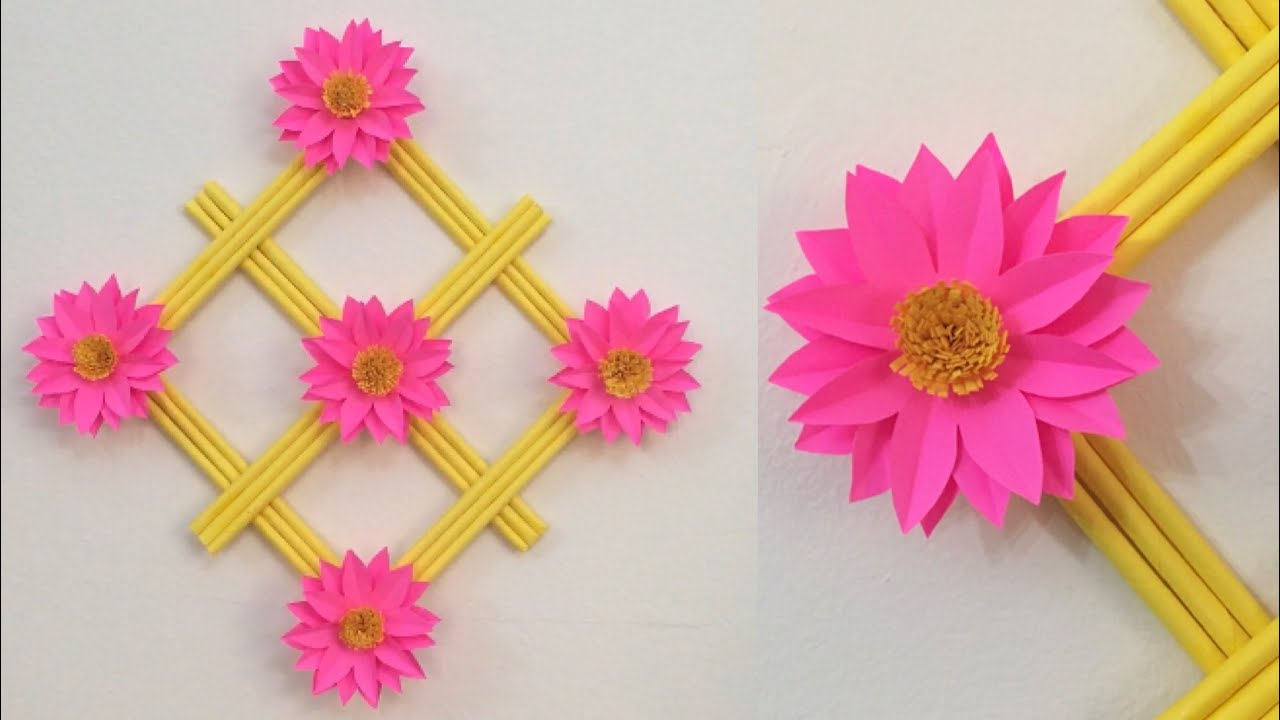 Flower Wall Hanging Craft Ideas With Paper/ DIY room decor / How to make wall hanging / Wallmate
