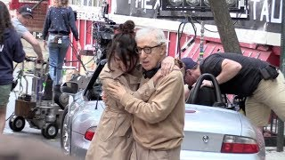 Elle Fanning, Selena Gomez and more on the Movie set of the new Woody Allen movie in New York City