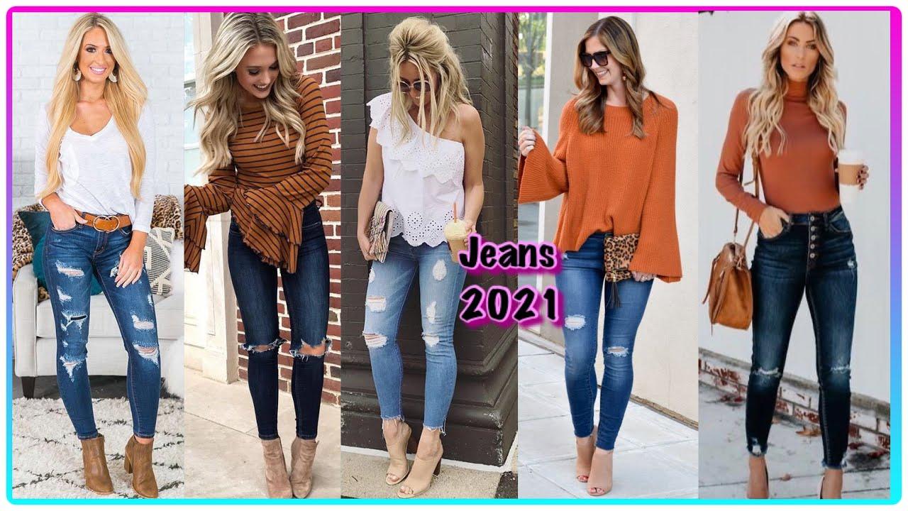 Jeans En Tendencias Moda 2021 Jeans Tiro Alto Jeans Rotos Jeans Una Linda Variedad Youtube