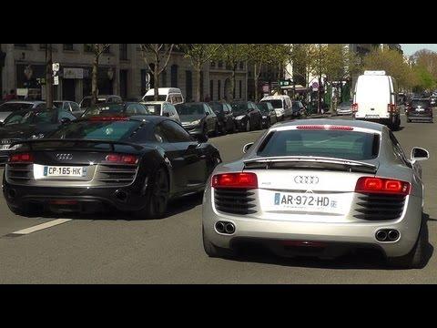 8x Audi R8 GT, V10, and V8 sound in Paris !! - YouTube