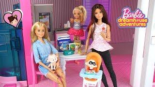Barbie Doll  Dreamhouse Adventures Babysitting Routine Baby Jack Jack
