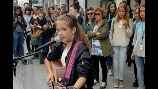 Allie Sherlock busking over 5 years. 11 to 16 years old.