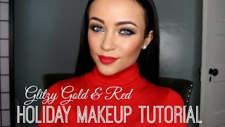 Glitzy Gold & Red Holiday Makeup Tutorial Thumbnail