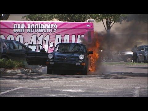 Raw video - Porsche catches fire at Britton Plaza