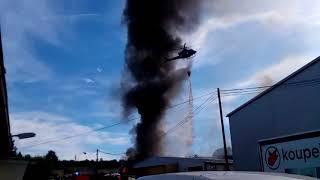 Požár Karlov Kutná Hora 12.8. 2018 + akce vrtulníku / amaterske záběry