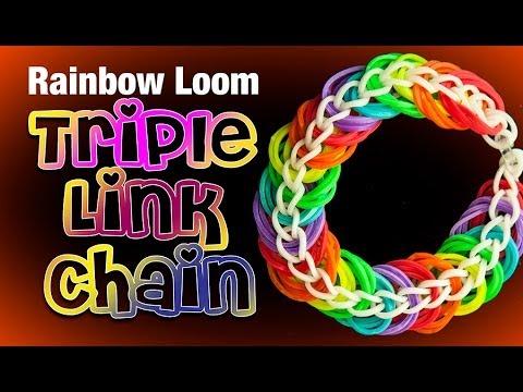 Triple Link Chain Rainbow Loom Bracelet Youtube