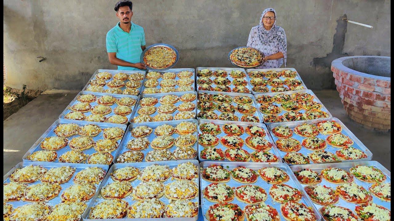 99 PIZZA MAKING IN HOMEMADE OVEN   VEG PIZZA    PANEER PIZZA   PIZZA RECIPE   VEG VILLAGE FOOD