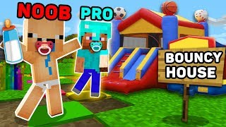 Minecraft NOOB Vs PRO  BABY AND BOUNCY HOUSE  N M NECRAFT AN MAT ON