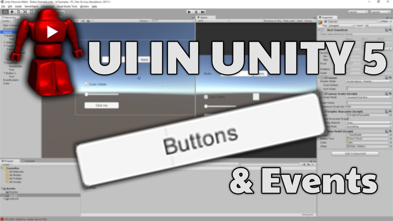 Unity 5 UI Tutorial - Button and event handlers