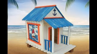 Beach House for Hamster - Popsicle Sticks DIY