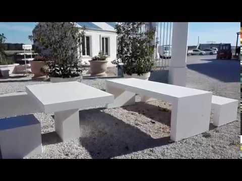 table de jardin b ton lisse banc b ton pr fabriqu mobilier urbain pierre reconstitu e youtube. Black Bedroom Furniture Sets. Home Design Ideas