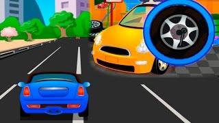 Мультик - Машинки на гоночной трассе и в автосервисе. Мультики про машинки.