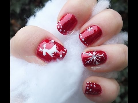 Flocon et Renne, Ongles rouge d\u0027hiver , Reindeer and Snowflake Nail art