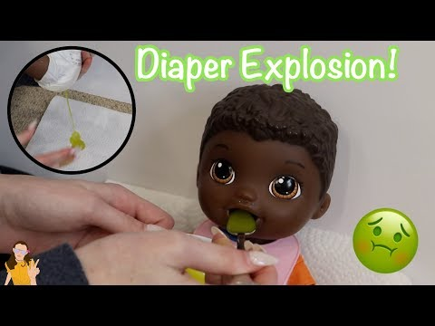 Baby Alive Nate Eats Green Veggies Food! Exploding Diaper! | Kelli Maple
