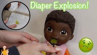 Baby Alive Nate Eats Green Veggies Food! Exploding Diaper!   Kelli Maple