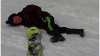 """Nate vs. """"The Mountain"""" - Nate takes a beating during his first attempt at snowboarding"""