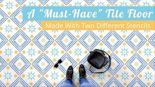 How To Stencil A Pinterest-Worthy Concrete Floor Using Two Different Tile Stencils